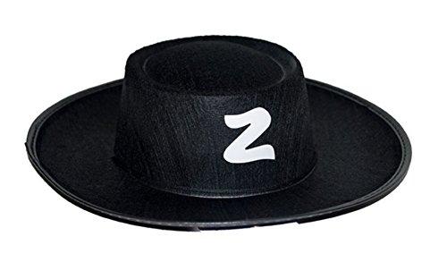 Halloweenia - Zorro Kostüm Hut Kopfbedeckung Zorrokostüm Kinder 3-9 Jahre, Schwarz