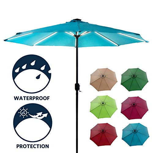 Polaris Garden Patio Umbrella Ourdoor Solar Umbrella LED Umbrellas with Crank Handle, Solar Powered LED Lighted, Equipped with USB Charger(Sky Blue)