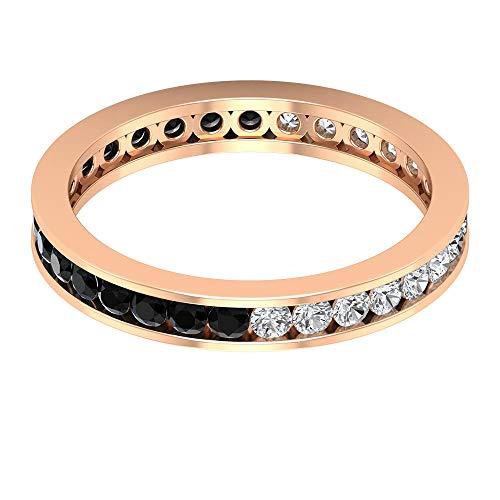 Rosec Jewels 18 quilates oro rosa redonda round-brilliant-shape H-I Black Diamond Ónix negro