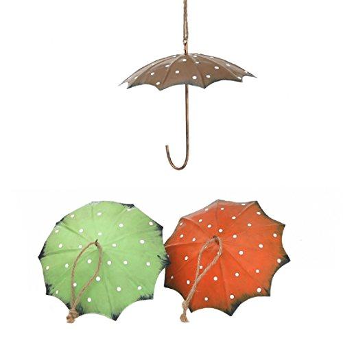 Dio Meisenknödel-Halter Regenschirm Metall 3 Farben grün orange braun mit weißen Punkten Preis für 3 Stück