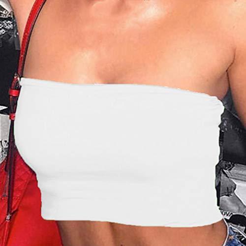 Yinew Femmes Sexy Tube Crop Tops, Stretchy Bandeau Tank Top Party Club Bar Vêtements,Blanc,S