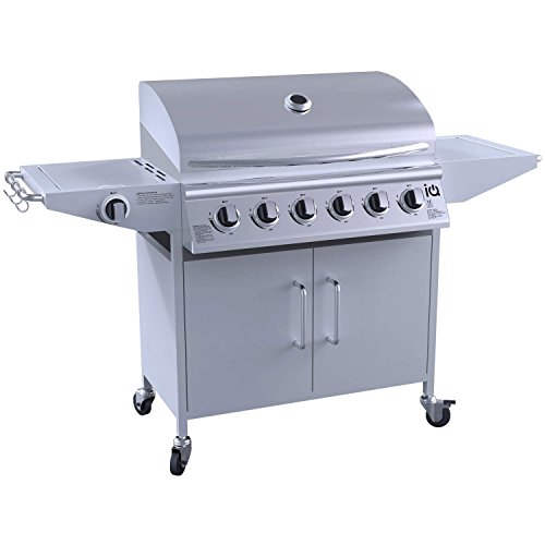 iQ The Georgia Classic 6+1 Gas BBQ Grill – 6 Burner Barbecue with Side Burner – Free BBQ Cover and Utensil Set