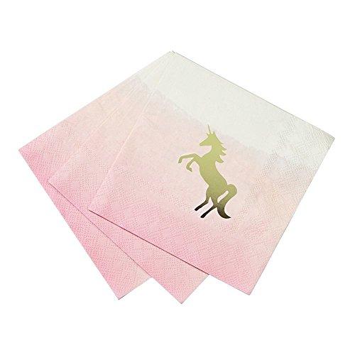 Talking Tables We Heart Unicorns Petites Serviettes en Papier aux Tons Dégradés avec Détail en Papier Métallisé pour Fête à Thème Licorne et Anniversaire d'Enfant, Rose et Doré (Paquet de 16)