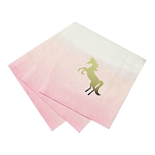 Talking Tables Unicorn Party Supplies | Unicorn Napkins Cocktail | Great For Girls Party, Birthday Party, Baby Shower And Tea Party | Pink And Gold, 16 Pack