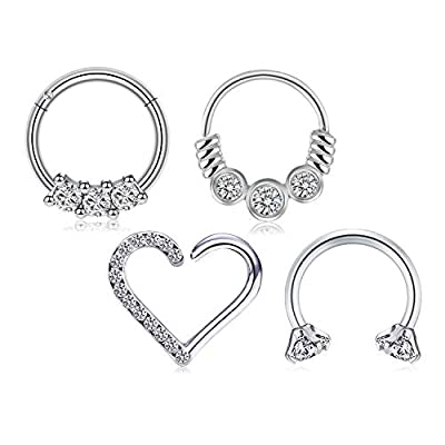 LAURITAMI 16G Surgical Steel Rook Daith Earrings Right Ear Horseshoe Barbell Nose Rings Hoop Heart Shaped Tragus Cartilage Helix Earrings Hinged Clicker Septum Ring 8mm