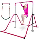 Gymnastics Bar for Kids with Swing Seat Set, Adjustable Height Folding Gymnastic...