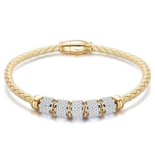 Geflochtenes Armband,Fashion Retro Edelstahl Magnetische Gold Armbänder Armreifen Mosaik Wicklung Crystal Ball Aus Geflochtenem Leder Armband Für Frauen Schmuck