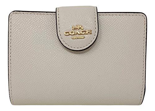 Coach Crossgrain Leather Medium Corner Zip Wallet Chalk Style No. 6390