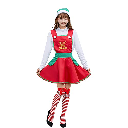 HBHBYNYN Mujeres de Navidad Vestido de Navidad Santa Claus Traje de Navidad Traje de Criada Cosplay Fiesta de Navidad (Color : Red, Size : XL)