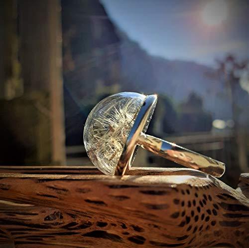 Anello regolabile con semi di soffione, Anello con cupola di vetro soffiato, Anello desiderio, Dandelion seed jewelry, Boccia botanica, Bottiglietta tarassaco