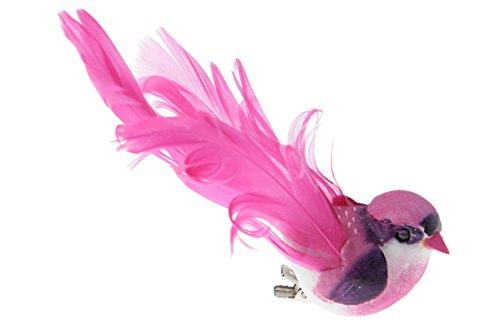 Oiseau décoratif avec clip fuchsia 12 x 3,8 cm-lot de 2 décorations de table et décorer