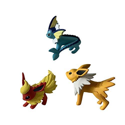 NAU Pokémon Battle Action Pose 3 Figurines Pack - Evolution Multi Pokemon Figures Contains Flareon, Jolteon and Vaporeon