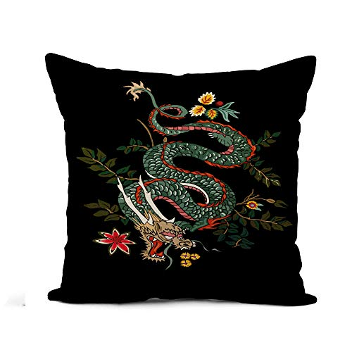 Awowee Flax Throw Pillow Cover Chinese Dragon Flowers Tattoo Patch Japanese Asian Black Zodiac 18x18 Inches Pillowcase Home Decor Square Cotton Linen Pillow Case Cushion Cover