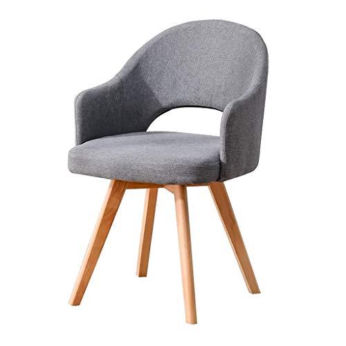 Jieer-C Ergonomische stoel, eetkamerstoelen, comfortabel, voeten van hout, kussens van linnen, textiel, gevoerde woonkamer, vergaderruimte, zitzak, antislip, robuust en duurzaam, 48 × 46 × 78 cm