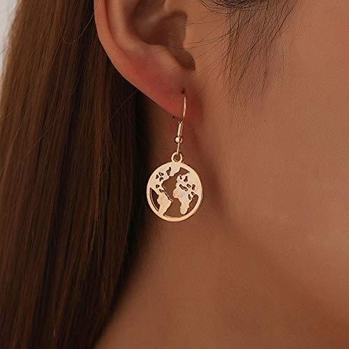 TseenYi Boucles d oreilles pendantes en forme de carte du monde bohémien - Style minimaliste et chic - Pour femmes et filles - Doré