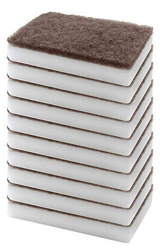 (10 Pack) Multi-Purpose Magic Cleaner Sponge – Double Layered Melamine Scrubbing Pad – Long Lasting Deep Cleaning Sponge – No Flake Instant Eraser -Fabricated in The USA