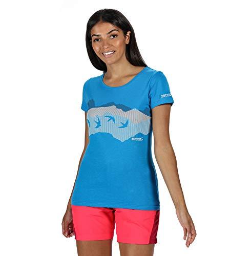 Regatta T- Shirt Technique Manches Courtes 100% Coton BREEZED Respirant avec imprimé Polos/Vests Femme, Blue Aster, FR : XL (Taille Fabricant : 18)