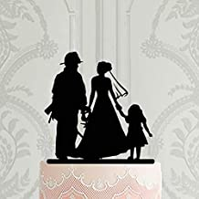 Firefighter Family Wedding Acrylic Cake Topper Fireman Groom With Bride And Child Silhouette Wedding Decoration Ideas