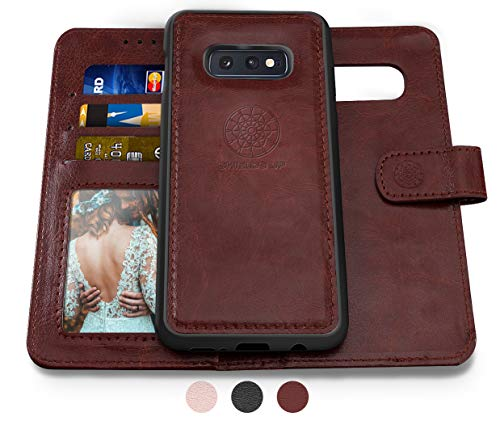 Shields Up Galaxy S10E Wallet Case, [Detachable] Magnetic Wallet Case, Durable and Slim, Lightweight with Card/Cash Slots, Wrist Strap, [Vegan Leather] Cover for Samsung Galaxy S10E -Brown