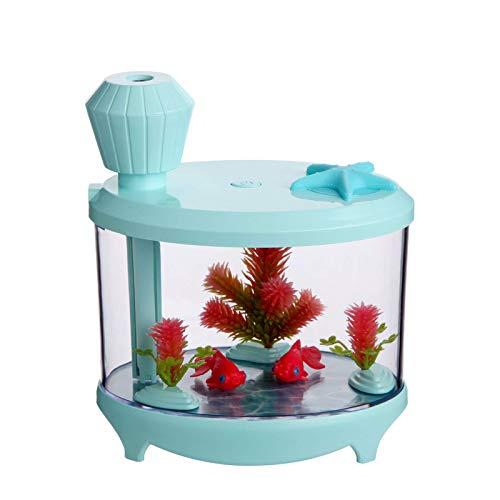 Humidificadores de lámpara de tanque de peces, aire doméstico mini humidificador USB aromaterapia, hermosa lámpara de noche