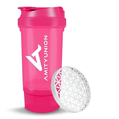 Eiweiß Shaker Trinkflasche 700ml – FYRA Lady Fitness Shaker - BPA frei & auslaufsicher mit Sieb, Skala für cremige Whey und BCCA Booster - Gym Fitness Becher für Isolate und Diät Konzentrate in Pink