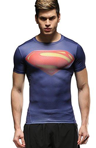 Cody Lundin Hombres Deportes Fitness Impreso el Logotipo del superhéroe compresión Medias de Manga Corta Camiseta (M)