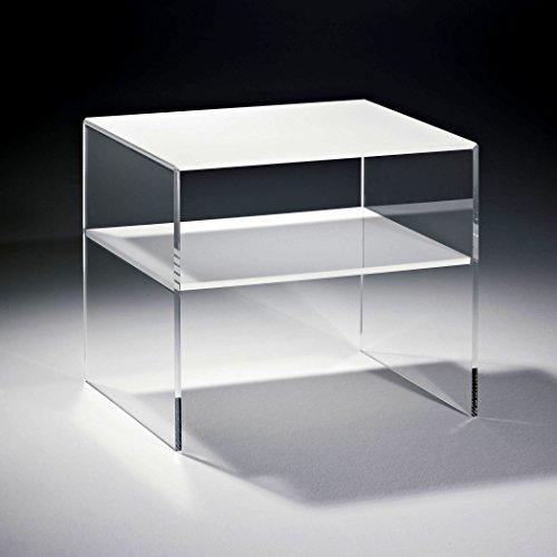 HOWE-Deko Hochwertiger Acryl-Glas Beistelltisch/Nachttisch mit 1 Fach, Tischplatte und Unterboden weiß, Seiten klar, 40 x 33 cm, H 35 cm, Acryl-Glas-Stärke 8 mm