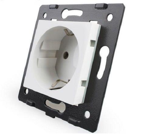 LIVOLO Glas Touch Lichtschalter Funkschalter Steckdosen Wechselschalter uvm in weiß (Modul: Steckdose VL-C7C1EU-11)