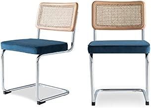 Edloe Finch SET OF 2 Rattan Back - Velvet Cushion, Blue,