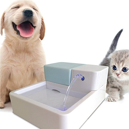TOPCHANCES 12V 1.8L Capacity Sterilization Automatic Pet Water Fountain Pet Waterer Safe Drinking Filter Bowl for Pet Dogs Cats (LED +UV(New))