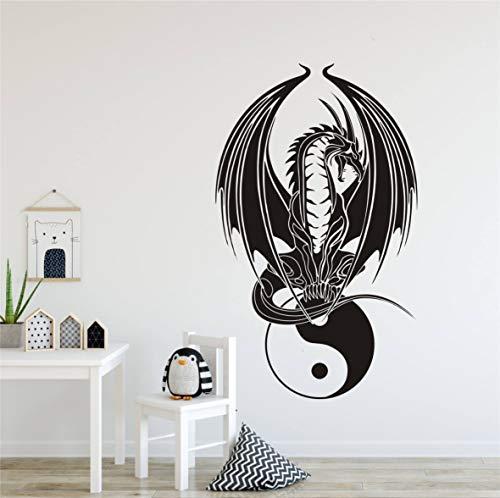 Yin Yang Drachen-Wandaufkleber, chinesischer Stil, für Schlafzimmer, Yoga, Wandposter, Heimdekoration, Vinyl AY182