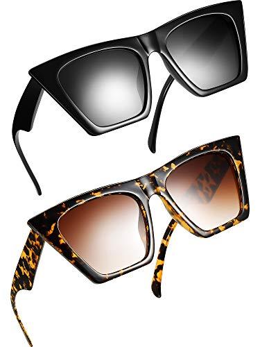 Frienda 2 Pares Gafas de Sol Cuadradas de Ojos de Gatos Pequeña Moda Retro para Mujeres