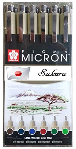 Sakura Fineliner PIGMA Micron 05, Ass't Colors,Set 6 pcs,Fresh Green,Royal Blue, Burgundy, Hunter Green, Blue/Black,Sepia