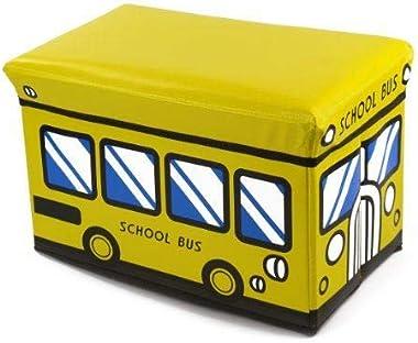 TOPBATHY Kids Storage Ottoman School Bus Shape Footstool Collapsible Storage Box Toy Storage Organizer (Rosy)