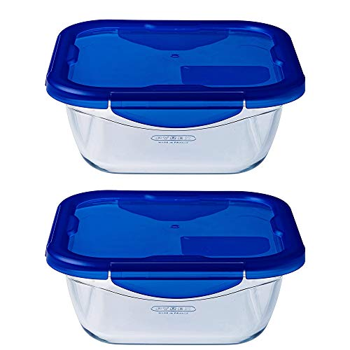 Pyrex Easy Wash Cook & Go Square Container with Lid Large 0.8 Litre Blue (Pack of 2)