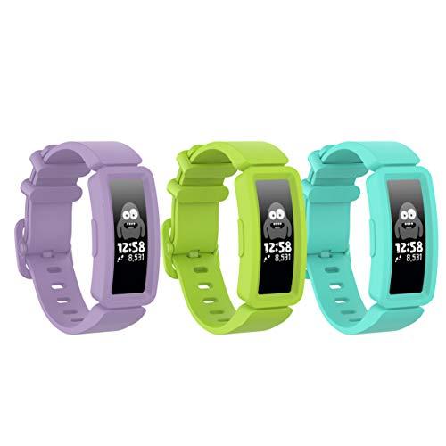Ruentech Armbänder Kompatibel mit Fitbit Ace 2 Activity Tracker Armband Ersatz-Silikonband Kompatibel mit Fitbit Ace 2 Fitness Tracker Uhrenarmbänder (lila/See blau/Limette)