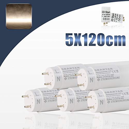 [5er PACK zum Sparpreis] SBARTAR LED Leuchtstoffröhre 120cm Tageslicht Neutralweiß 4000K 17W - Neonröhre Ersatz für T8 Rasterleuchte Bürolampe Deckenleuchte/Leuchtstofflampe 1960lm inkl. Starter