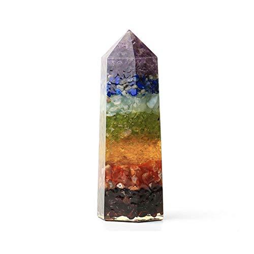 KDHJY Grava 1PC Chakra Natural Decoración Columna Hexagonal de 90 mm Tallado Crystal Prism meditación muestras Figurita Decoración CrystalTears