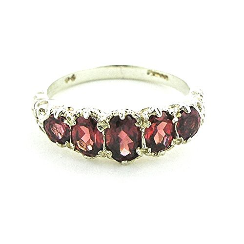 925 Sterling Silver Natural Garnet Womens Band Ring - Sizes 4 to 12 Available