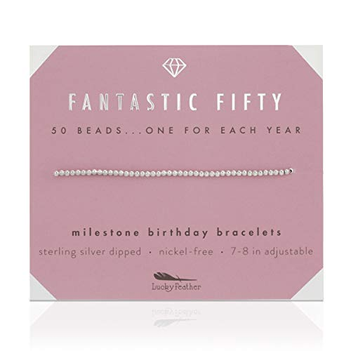 Lucky Feather 50th Birthday Gifts for Women Turning 50 - Sterling Silver Dipped Beads Bracelet on Adjustable Cord, 50th Birthday Jewelry Gift Ideas for 50 Year Old Woman