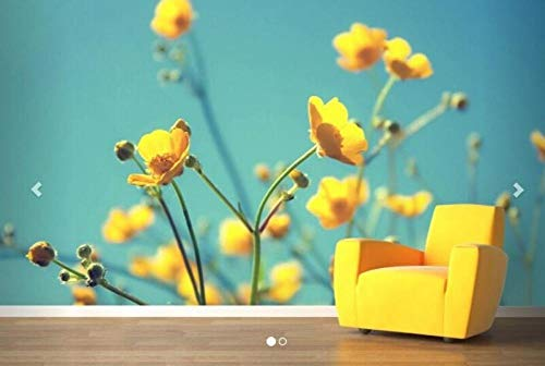 3D vliesbehang, fotovlies, premium fotobehang, muurbehang, moderne 3D-muurschildering, gele bloemen, wandschildering, sofa, slaapkamer, tv, achtergrond wallpaper. 400*280 400 x 280 cm.