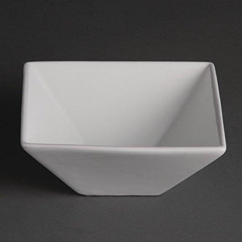 Olympia u829 Whiteware Bol carré, blanc (Lot de 12)