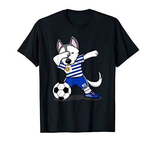 Dabbing Husky Dog Uruguayo Fútbol - Bandera Uruguaya Camiseta