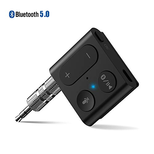 1Mii Bluetooth Receiver, Wireless Audio Adapter Back Clip Bluetooth 5.0 Receiver Car Kit with Mic Handsfree Calls 3D Surround Music aptX Low Latency AUX 3.5mm for Wired Headphones Home Car Stereo-B07