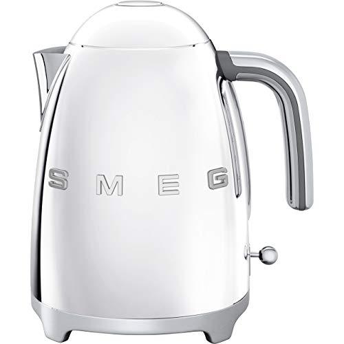 Smeg KLF03SSUK Hervidor de agua estilo retro, indicador de nivel de agua, base giratoria 360, patas antideslizantes, tapa de apertura suave, acero inoxidable, 3000 W, 1,7 litros, plata pulida