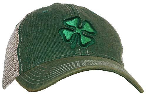 Tropic Hats Adult Embroidered Shamrock/Clover Legacy OFA Snapback Trucker Ballcap - Kelly Green