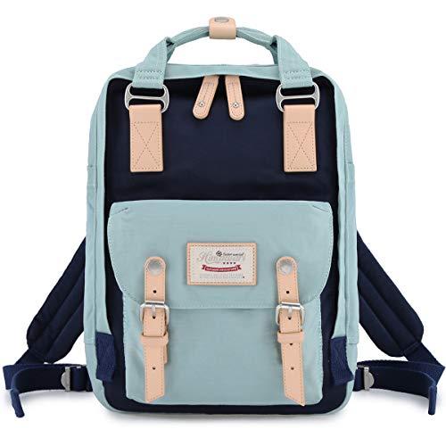 "Himawari School Waterproof Backpack 14.9"" College Vintage Travel Bag for Women,14 inch Laptop for Student (Light blue&Dark blue)"