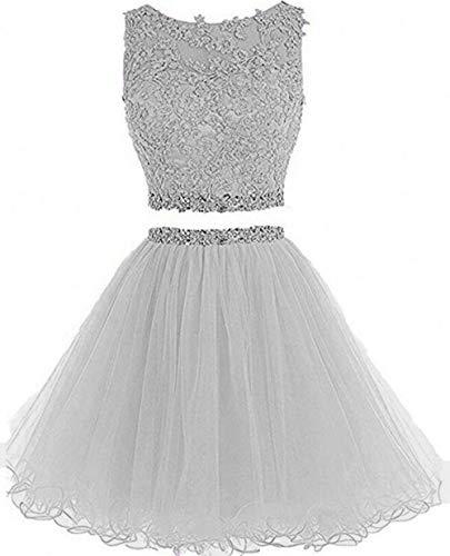 Dydsz Women's Prom Dress Short Homecoming Dresses for Juniors Teens 2 Piece A Line Tulle D127 Silver 2