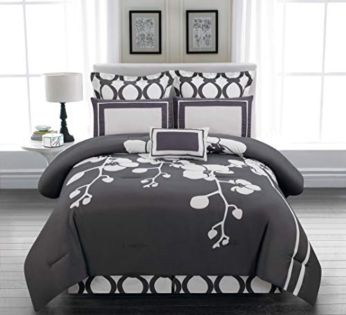 Duck River April Orchid Flower Comforter Set, Queen, Slate-Grey
