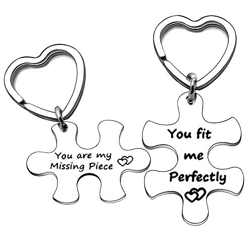 YONGHUI Llavero con forma de corazón con forma de puzle para parejas, marido, esposa, novio, novia, eres mi missing pieza, You Fit Me Perfectamente plateado